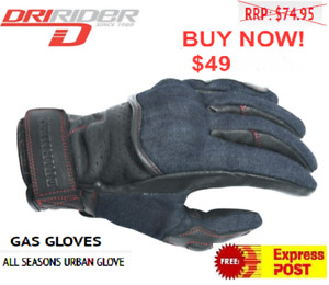 DRIRIDER Gas Motorcycle Gloves NEW Short cuff Denim look/ leather Road Dri Rider
