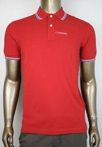 Prada Men's Red Cotton Short Sleeve Polo Shirt with Logo SJJ887 Cerise