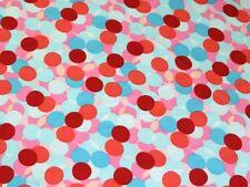 Layered Spots Print Silky Satin Dress Fabric (EM-328-SpotsSilkySatin-PinkTurq-M)