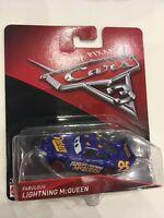 Disney Pixar's Cars 3 Fabulous Lightning McQueen Blue Mattel 1:55 Diecast NEW