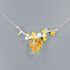 Handmade14ct+ Natural Citrine 925 Sterling Silver Necklace Length 19.75/N03158
