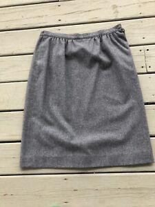 Vintage Pendleton 100% Wool Skirt Women Size 12 Gray A-Line Pencil