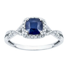 White Gold Genuine Cushion-cut Sapphire & Diamond Halo Ring