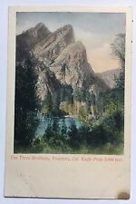 The Three 3 Brothers Yosemite CA Eagle Peak UDB Postcard M Rieder Hand-colored