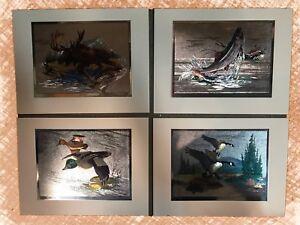 Set Of 4 WildLife Metallic Art Prints By Fred Sweney Sportsmans Portfolio 8x10.5