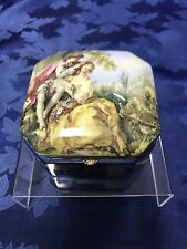 Charming Antique German Porcelain Jewelry Hinged Trinket Box Courting Couple