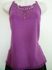 New Womens Medium purple tank top cami crocheted lace beaded knit top blouse