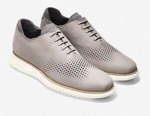 NEW Cole Haan 2.Zerogrand Nubuck Laser Wingtip Shoes 9.5M Light Gray/Ivory $300