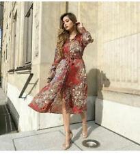 BNWT ZARA Red Paisley Printed Shirt Dress Size XS