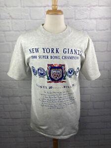 VTG 1990 Nutmeg Mills NFL New York Giants T-Shirt Super Bowl Champions Men's LG