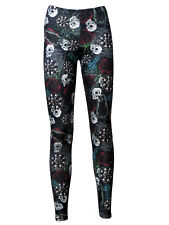 Gothic Wiccan Cross Witches Black Cat Skull Rose Halloween Alternative Leggings