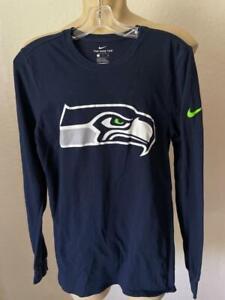 The Nike Tee Men's Navy Blue Seattle Seahawks Cotton Long Sleeve Tee Small $35