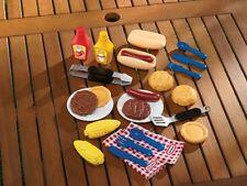Kids 20-Piece BBQ Grill Food / Tool Toy Play Set - Hamburger Hot Dog Corn on Cob