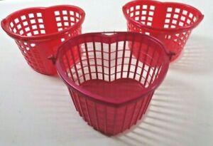 "Vtg Red Plastic Heart Shaped Basket Kids Children Storage 8"" x 4 3/4"" Lot of 3"