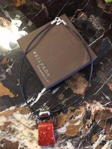"Retired Silpada 17"" necklace, sponge coral .925 silver clasp/black leather cord"