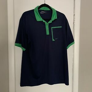 Nike Golf Dri-Fit Tour Performance Polo Shirt Men's Large Navy Blue w/Green Trim