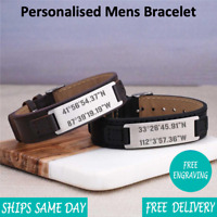 Laos Brown Black Leather & Stainless Steel Mens Personalised Engraved Bracelet