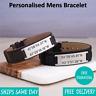 Laos Brown Black Leather & Stainless Steel Mens Personalised Engraved Bracelet