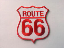 CLASSIC AMERICAN HIGHWAY ROAD SIGN SEW / IRON ON PATCH:- ROUTE 66 RED / WHITE