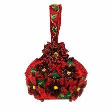 Mary Frances Holiday Merriment Red Poinsetti Christmas Xmas Bead Handbag Bag New