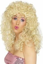Smiffy's Boogie Babe Wig - Fancy Dress Blonde Ladies 80s Curly Long Smiffys 70s