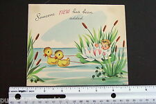 #D606- Vintage New Baby Greeting Card Baby on Pond Lotus Duck Clothes Line