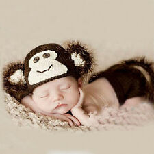 Newborn Baby Animal Monkey Crochet Knitted Photography Props Costume Outfit Set