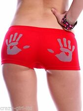 Womens Novelty Hand Print Boxer Boy Trendy Short Ladies Underwear Pant Size M XL Red Large X-long