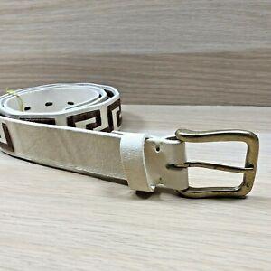 Arandu Greek raw leather guard belt Cream & Brown 95cm Vintage Style