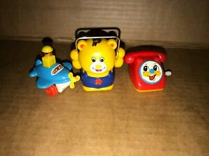 Tomy Push Along Pull Back Plane, Pull back Skipper and Wind up Phone *Working*