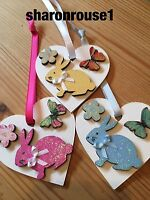3 X Bunny Hanging Decorations Shabby Chic Country Real Wood Hearts Bunny