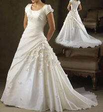 A-line Lace Short Sleeve Scoop Neck Wedding Dresses