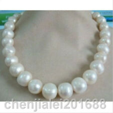 huge 12-13mm natural tahitian south sea white pearl necklace 20""