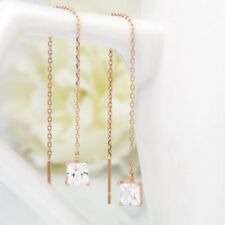 TPD 14K Solid Rose Gold Square Cubic Long Threader Drop Dangle a Pair of Earring