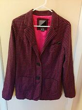 Volcom Slow Motion Long Blazer Women Large L Pink Black Checkered Jacket Plaid