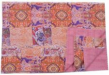 Indian Queen Size Patch Work Kantha Quilt Hand Print Bedspread Throw Blanket