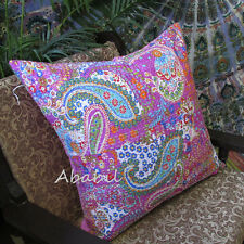 "Large 24"" Pink Pillow Cushion Cover Floral Room Decor Kantha Stitch Case Throw"