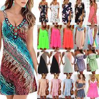 Womens Summer Sleeveless Sundress Evening Party Beach Short Mini Dress Plus Size
