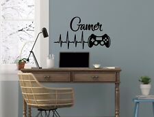 Game Controller Gamer Wall Decal Game Zone Vinyl Stickers Joystick Nursery NV223