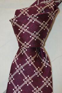 "$250 NWT TOM FORD Berry w/ White overcheck men's 3.8"" heavy woven silk tie Italy"