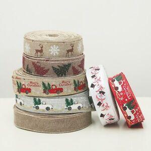 5m Christmas Series Car Tree Printed Burlap Ribbons DIY Gift Wrapping Xmas Decor