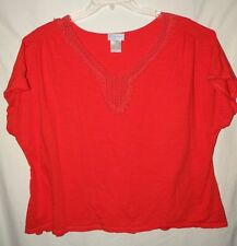 Comfy Casual Coral Peasant Top V Neck Short Sleeve  Plus Size 3X 4X 24 Cotton
