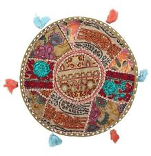"""Khaki 17"""" Floor Pillow Round Cushion Cover Embroidered Throw Indian Tapestry"""