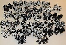 30 Medium size Black & White Dog Bows Grooming Bows top quality ribbons USA NEW