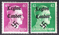 GERMANY 520, 529 1944 LEGION CONDOR OVERPRINT OG NH U/M F/VF TO VF BEAUTIFUL GUM