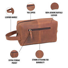 Mens Toiletry Bag Leather Travel Dopp Kit Shaving and Grooming Cosmetic Kit