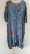 ITALIAN LAGENLOOK DRESS TUNIC BLUE HI LOW FLORAL SIDE POCKETS SIZE 12 14 16 18