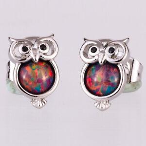 Cherry Red Fire Opal Black Eye Owl Silver Jewelry Stud Earrings