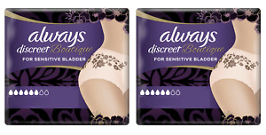 2x Always Discreet Boutique Incontinence Pants Medium/Large 8/9 Pack Nude Plus