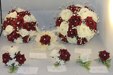 BRIDAL BOUQUET WEDDING FLOWER PACKAGE BURGUNDY & IVORY ***22 PIECES****
